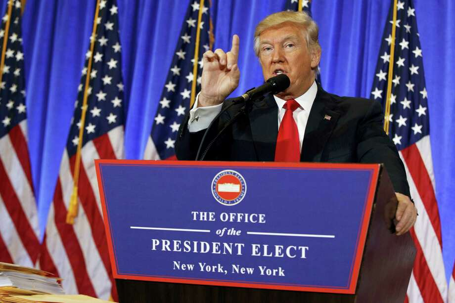 President-elect Donald Trump speaks during a news conference in the lobby of Trump Tower in New York on Wednesday. Photo: Evan Vucci — AP Photo / Copyright 2017 The Associated Press. All rights reserved.