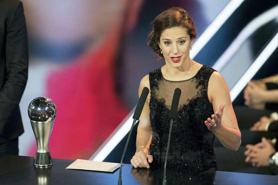 Carli Lloyd delivers a speech after winning the trophy for The Best FIFA Women's Player award. Photo: Ennio Leanza — Keystone Via AP   / © KEYSTONE / ENNIO LEANZA