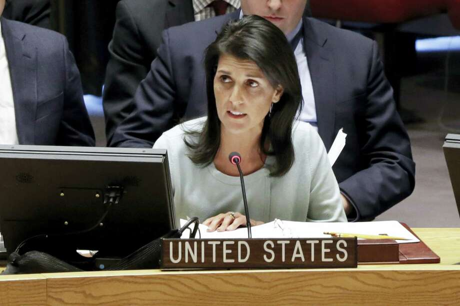 The new U.S. Ambassador to the U.N. Nikki Haley, addresses a Security Council meeting of the United Nations. Photo: Jacquelyn Martin— The Associated Press    / AP