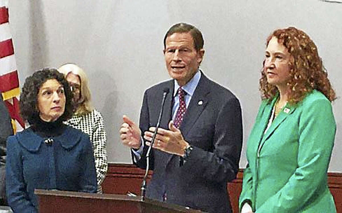 Jack Kramer / CT News JunkieU.S. Sen. Richard Blumenthal, U.S. Rep. Elizabeth Esty, and Gaye Hyre