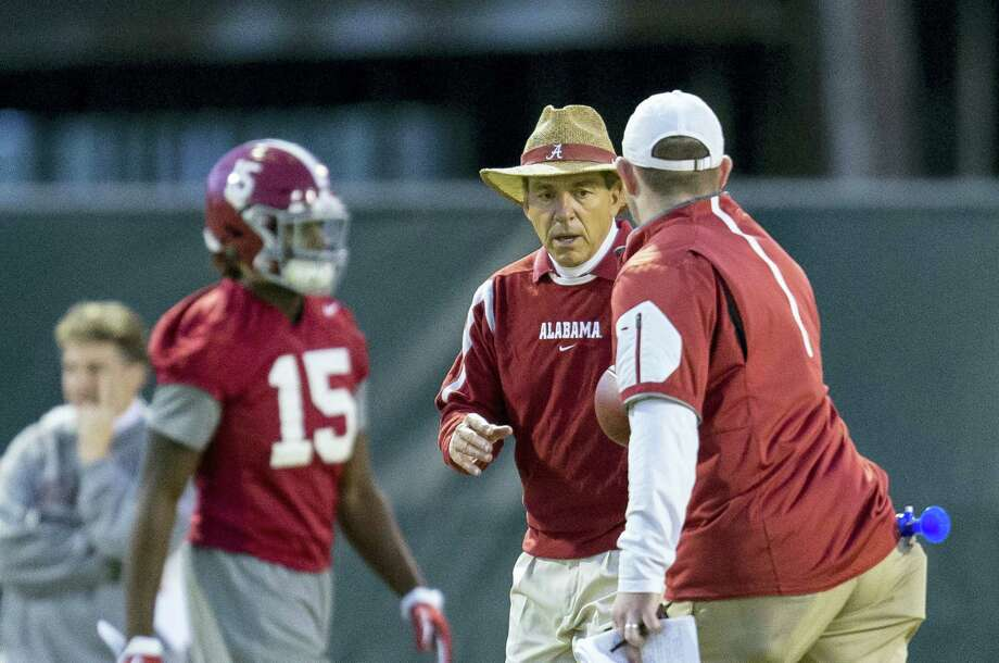 Alabama coach Nick Saban works on drills with his players during a recent practice. Photo: Vasha Hunt — AL.com Via The Associated Press   / AL.com