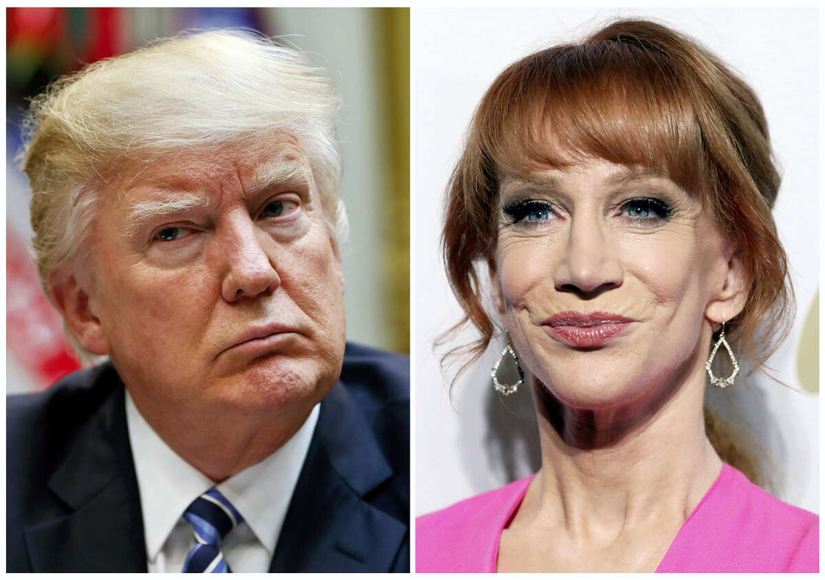 In this combination photo, President Donald Trump appears in the White House in Washington on March 13, 2017, left, and comedian Kathy Griffin appears at the Clive Davis and The Recording Academy Pre-Grammy Gala in Beverly Hills, Calif. on Feb. 11, 2017. Griffin and her attorney have scheduled a news conference for Friday, June 2, 2017, to discuss the fallout from the comedian posing with a likeness of Trump's bloody, severed head. The images prompted CNN to fire Griffin from her decade-long gig hosting a New Year's Eve special she had co-hosted with Anderson Cooper. Griffin apologized within hours of the images appearing online on Tuesday. They were met with swift and widespread condemnation.