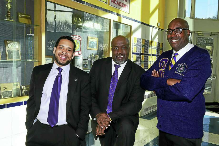 From left, King Robinson Principal Joe Johnson, Hillhouse High School principal Glen Worthy and Riverside Academy Principal Larry Conaway, right, at Hillhouse recently. Photo: Peter Hvizdak — New Haven Register   / Peter Hvizdak
