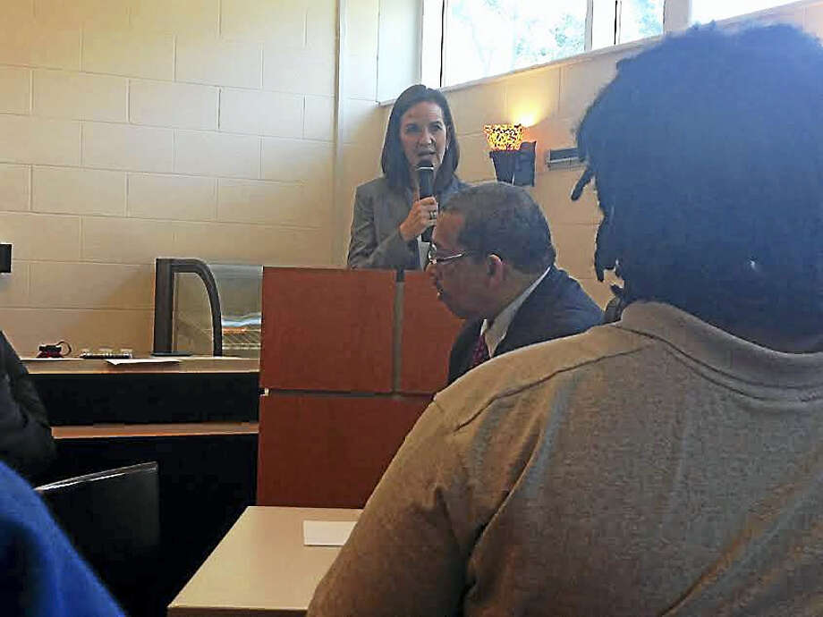 Connecticut U.S. Attorney Deirdre Daly delivers the keynote address to the graduates of the Career Pathways Technology Collaborative. Photo: Brian Zahn — New Haven Register