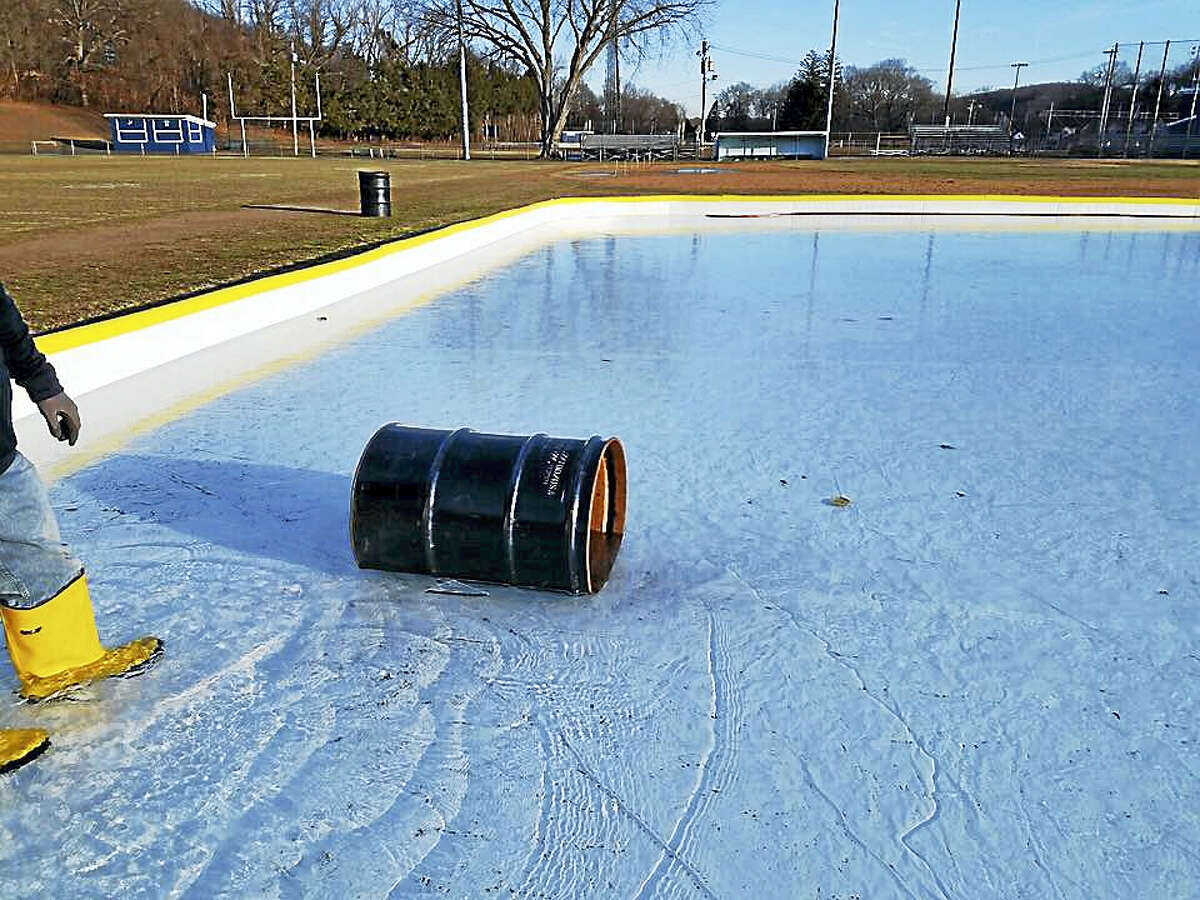 Someone threw a trash can onto the ice rink at Nolan Field in Ansonia.