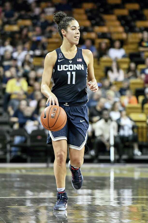 UConn guard Kia Nurse dribbles the ball up court during a game earlier this season. Photo: The Associated Press File Photo   / FR171497 AP
