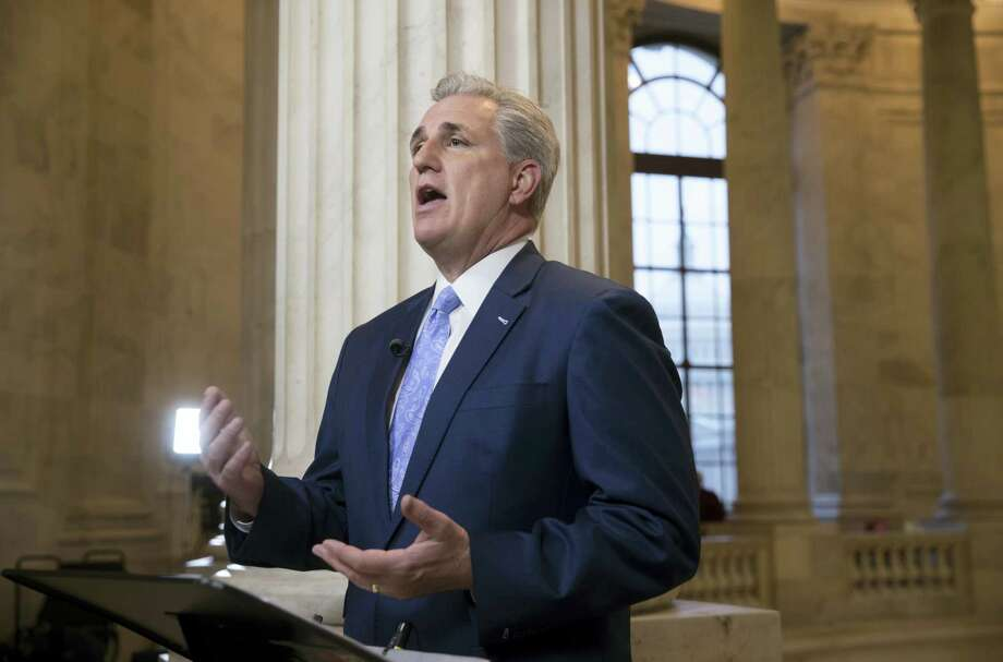 House Majority Leader Kevin McCarthy of Calif. discusses the move by House Republicans to eviscerate the independent Office of Government Ethics, during a network television interview on Capitol Hill in Washington, D.C., Tuesday. Photo: AP Photo — J. Scott Applewhite   / AP