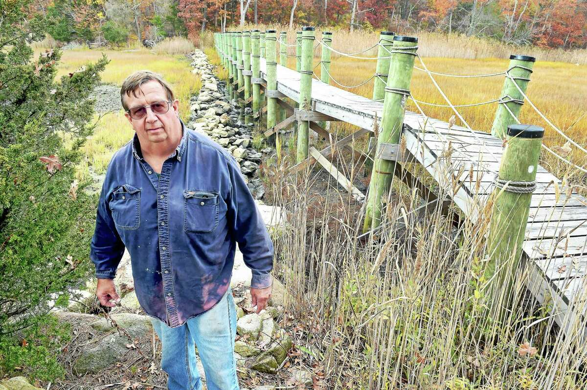 Jay Medlyn is photographed in 2015 by a foot bridge that was built in place of a berm that functioned as a levee against saltwater from Long Island Sound bordering his Branford farm.