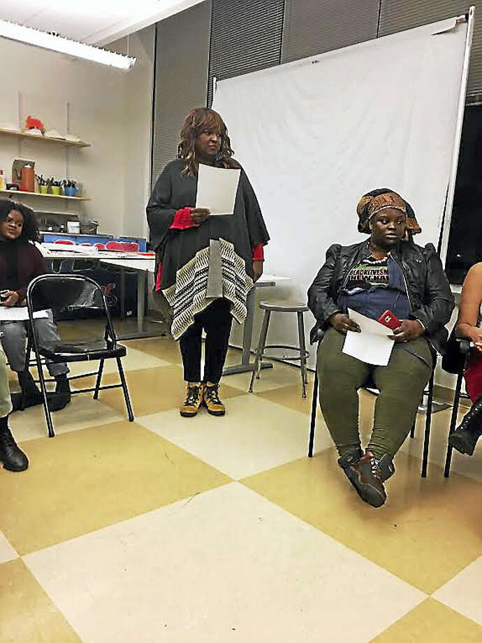 Babz Rawls-Ivy, left, was the moderator of a community conversation on the incoming Trump administration. Dawnise Boulware-Traore of Black Lives Matter is at right. Photo: Mary O'Leary — New Haven Register