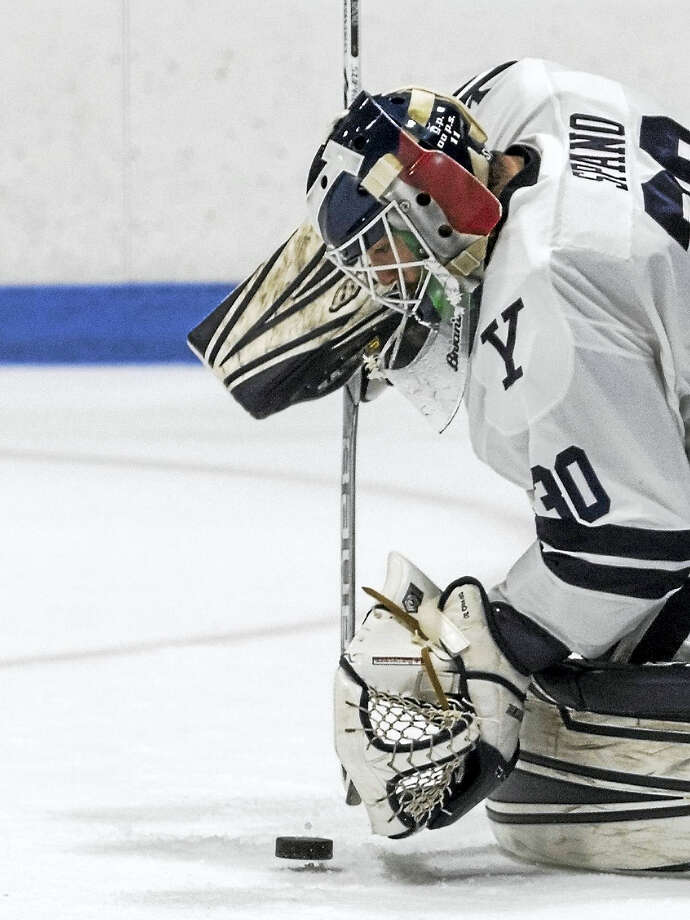 Yale goalkeeper Patrick Spano stopped 11 of his 24 shots in the final period to help Yale edge Northeastern 5-4. Photo: Photo Courtesy Of Steve Musco   / ©2017 Steve Musco. All rights reserved.