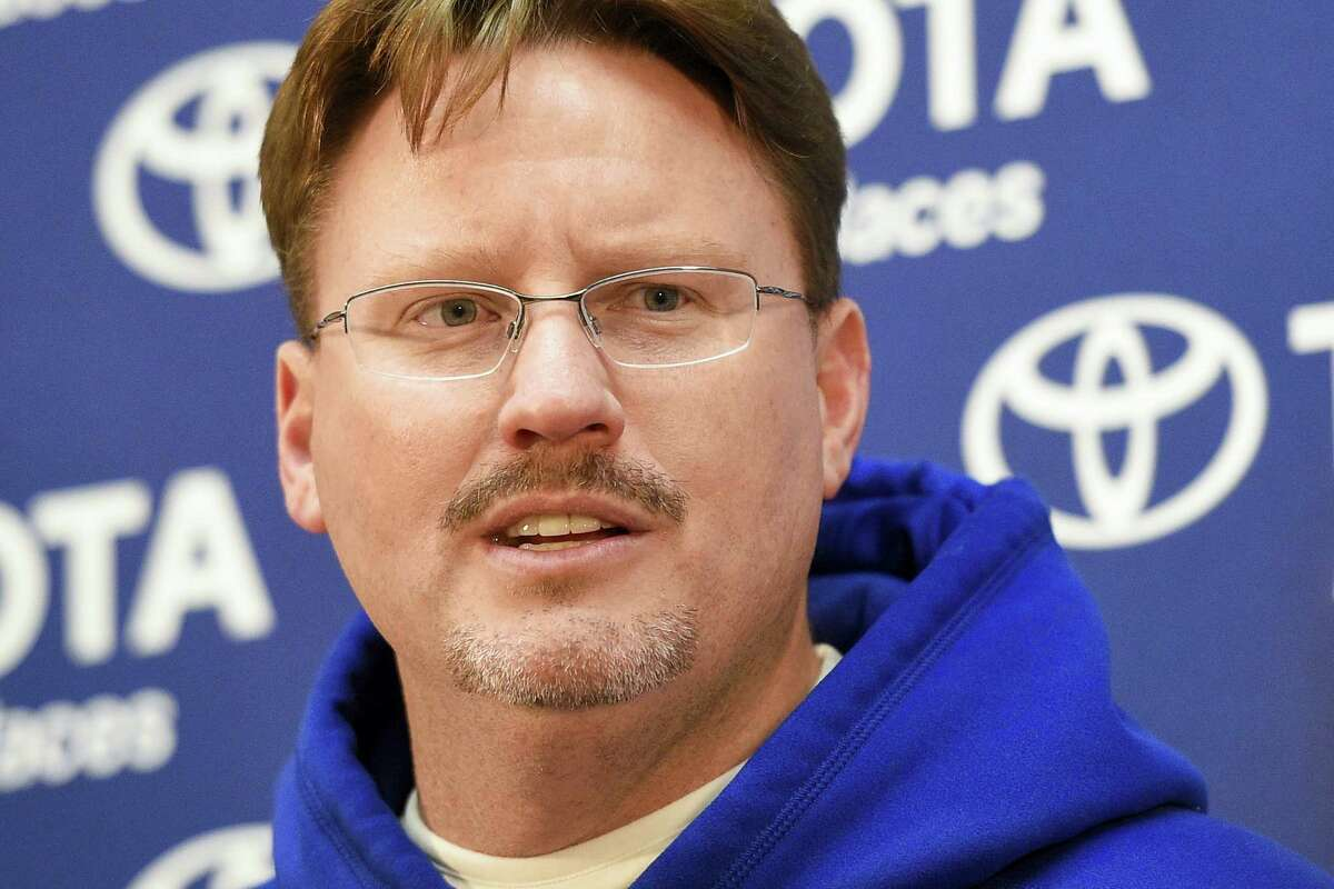 Giants head coach Ben McAdoo answers questions during a press conference after Sunday's win over the Redskins.