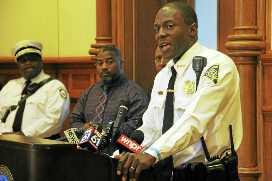 New Haven Interim Chief of Police Anthony Campbell speaks during a press conference in October at City Hall. Photo: Esteban L. Hernandez — New Haven Register