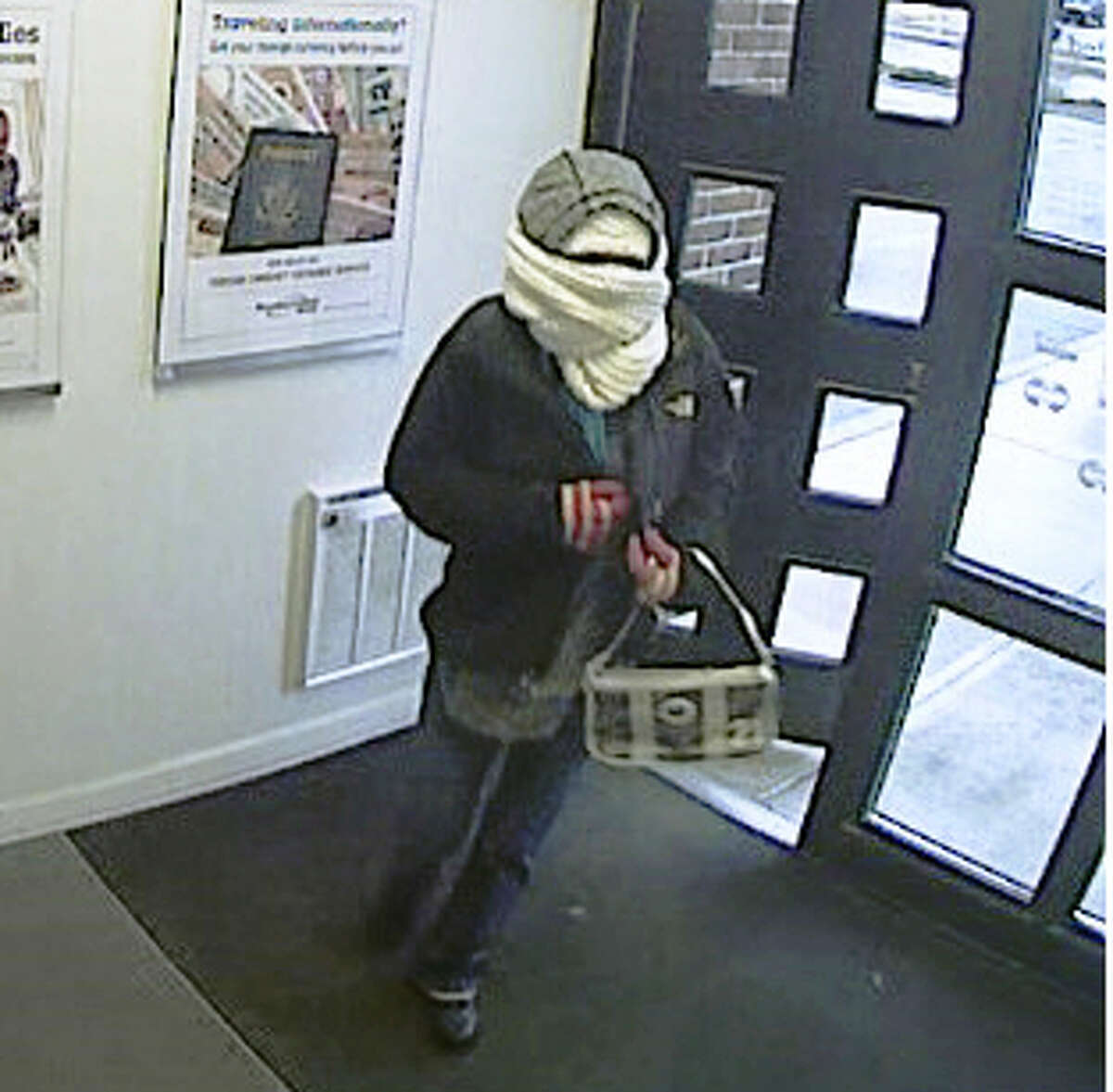 A view of the robbery suspect in the bank's lobby.