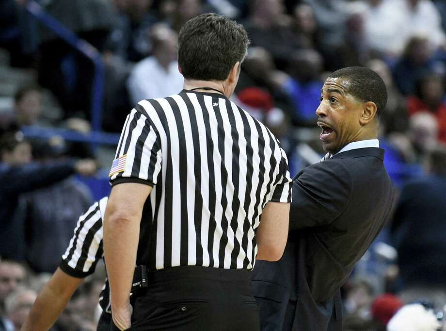 Connecticut head coach Kevin Ollie reacts to a call during the Huskies game against Auburn on Dec. 23. The Tigers edged UConn in overtime 70-67. Photo: Fred Beckham - The Associated Press    / FR153656 AP