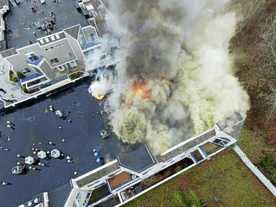 A drone image shows an aerial view of a fire at Harbour Landing Condominiums Monday. Photo: Contributed Photo
