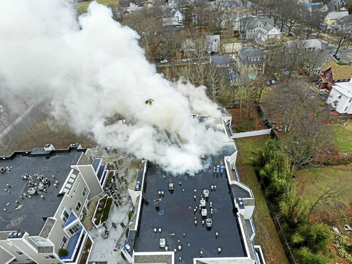 A drone image shows an aerial view of a fire at Harbour Landing Condominiums Monday.