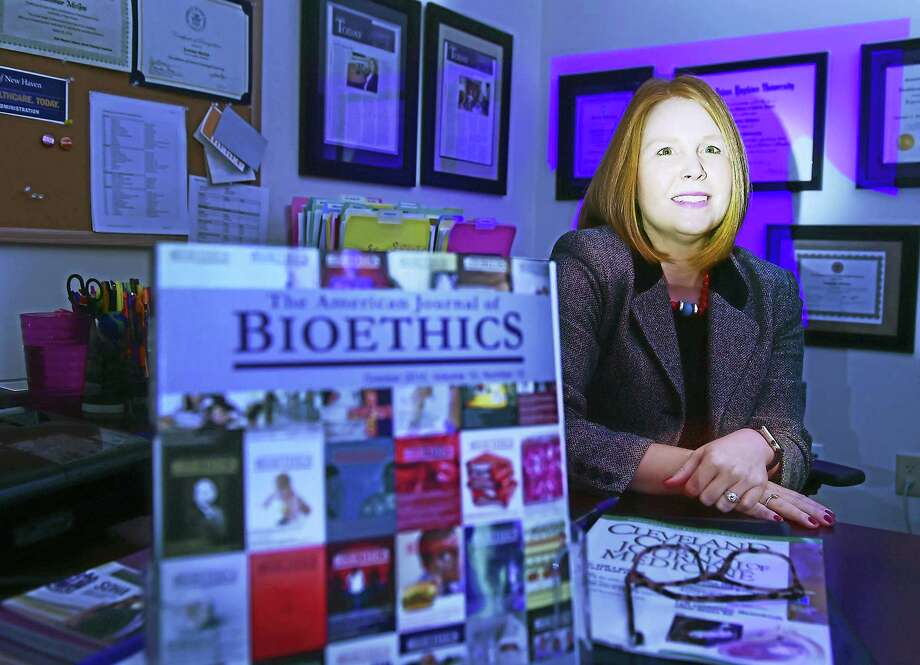 Bioethicist Summer J. McGee, of the University of New Haven College of Business and director of MS Healthcare Administration Program speaks about the importance of formal agreements between doctors and patients concerning opioid prescriptions. Photo: Peter Hvizdak - New Haven Register   / ©2016 Peter Hvizdak