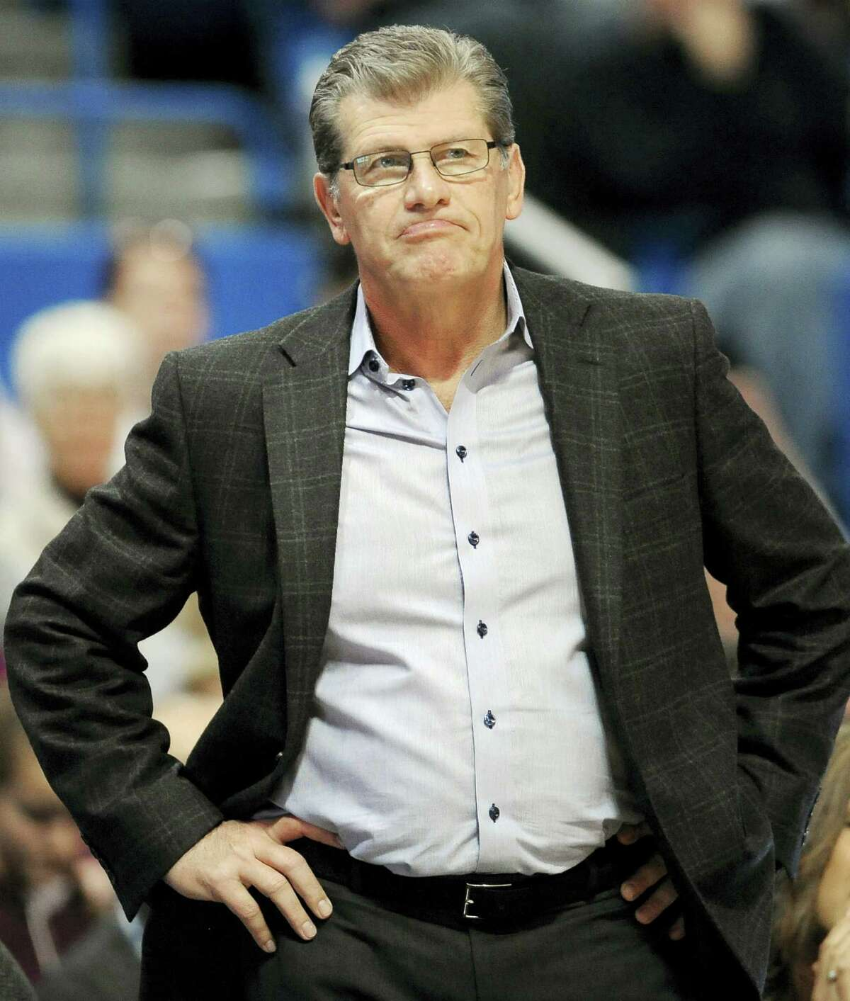 UConn women's basketball coach Geno Auriemma watches the second half against Chattanooga Tuesday night.