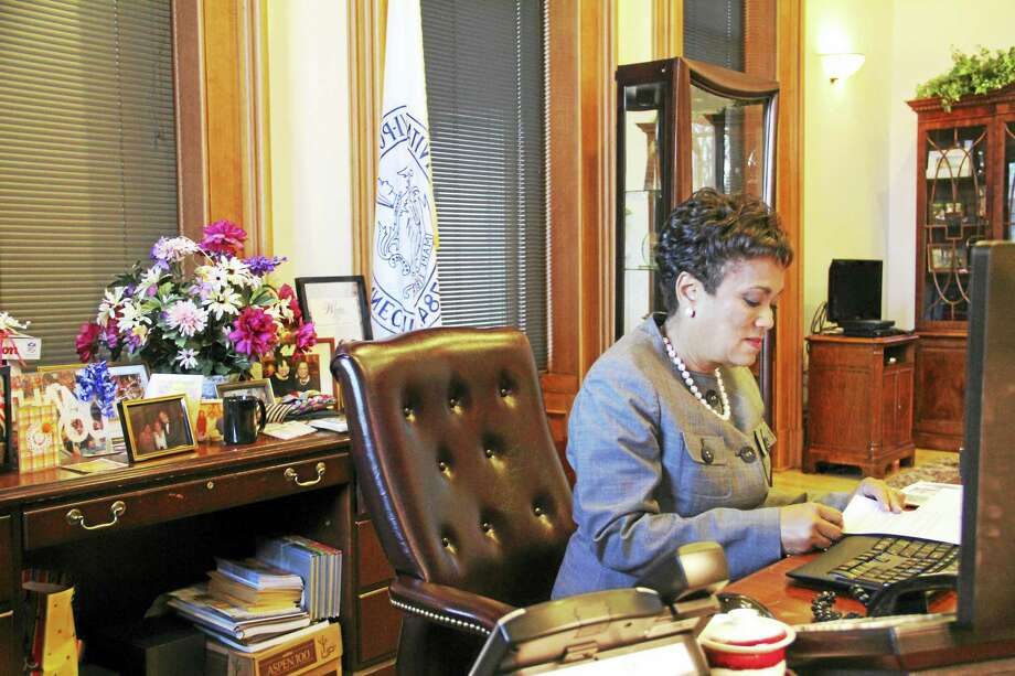 New Haven Mayor Toni Harp at her desk on Thursday, Dec. 8, at her office at City Hall. Harp has vowed to keep the New Haven a sanctuary city amid President-elect Donald Trump's promise to stop funding to such cities. Photo: Esteban L. Hernandez — New Haven Register