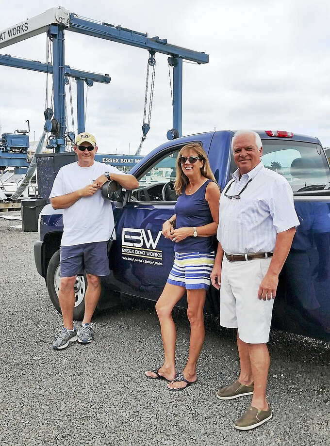 Left to right: John Lewis, Diana Gregory and Bob Jarrett make up the afterguard at the new Essex Boat Works. The Essex, Conn., yard was purchased by boater-businessman Ricard Carlson last February. Photo: Photo By Steve Knauth
