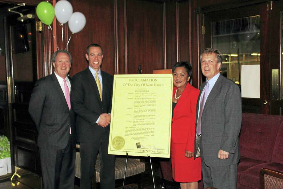 New Haven Mayor Toni Harp, third from left, with attorneys, from left, John Buckley Jr., John Parese and John Wynne Jr. Photo: CONTRIBUTED PHOTO