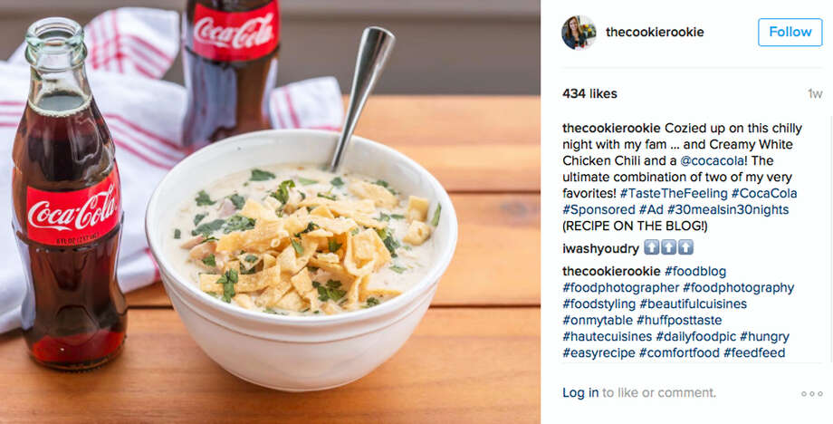A social media post featuring a bottle of Coca-Cola next to a bowl of chicken chili. Photo: Vox Creative Via AP   / Becky Hardin @thecookierookie/Vox Media/Vox Creative