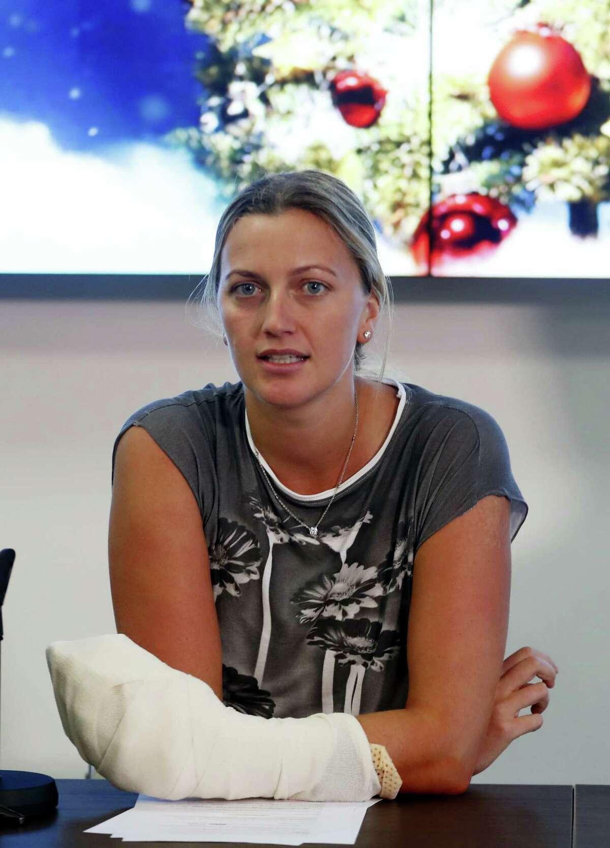 Petra Kvitova met with the media in Prague, Czech Republic, on Friday.