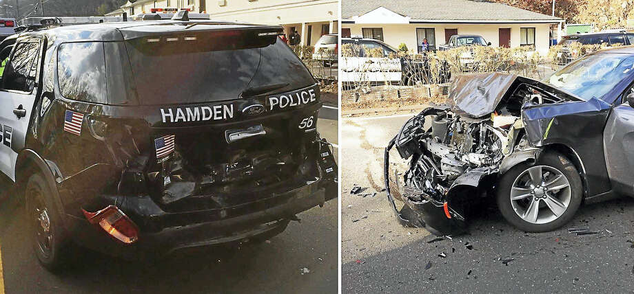A Hamden police officer and a Cheshire woman were hurt Saturday after the woman crashed into the back of the officer's patrol vehicle on Whitney Avenue. Photo: Courtesy Of Hamden Police Department