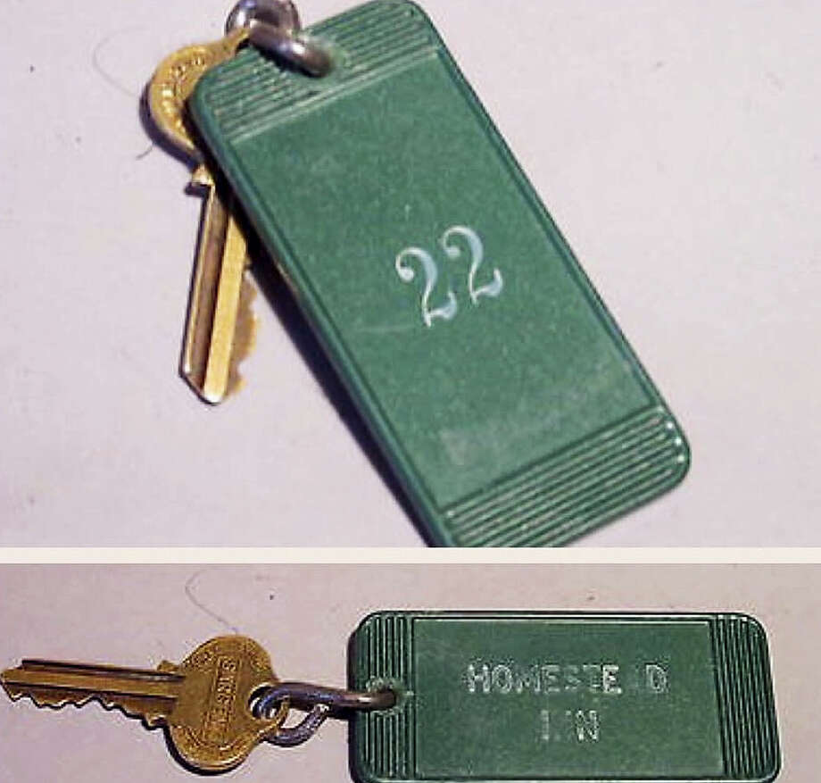 This undated photo combo provided by Bob Kretchko Antiques shows a key to the room at the Homestead Inn in New Milford, Conn., where Marilyn Monroe stayed in 1956 while dating playwright Arthur Miller. The key sold on Friday on eBay to a local woman. The antiques dealer purchased the inn's old keys two years ago when the property changed hands. Photo: Loretta Kretchko Via AP   / Bob Kretchko Antiques