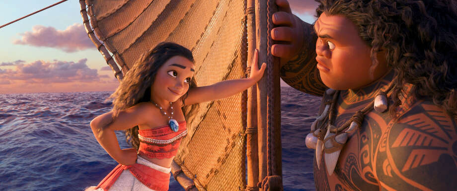 "This image released by Disney shows characters Maui, voiced by Dwayne Johnson, right, and Moana, voiced by Auli'i Cravalho, in a scene from the animated film, ""Moana."" Photo: Disney Via AP   / ©2016 Disney. All Rights Reserved."