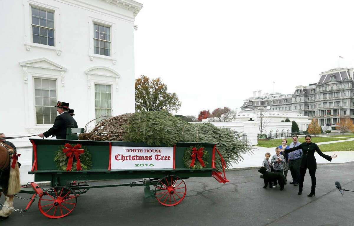 First lady Michelle Obama, right, with nephews Aaron, left, and Austin Robinson, and growers Mary and Dave Vander Velden, of Oconto, Wis., gestures as she receives the Official White House Christmas Tree at the White House in Washington, Friday, Nov. 25, 2016. The Balsam-Veitch fir is 19 feet tall and 12 feet wide.