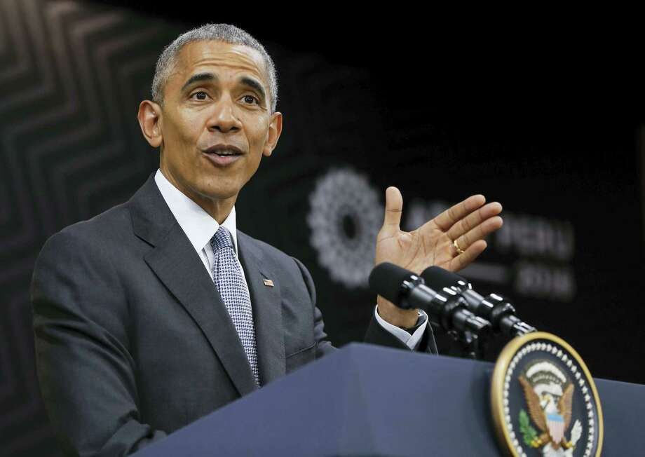 President Barack Obama makes remarks during a news conference at the Asia-Pacific Economic Cooperation (APEC) in Lima, Peru, recently. Photo: Pablo Martinez Monsivais — The Associated Press   / Copyright 2016 The Associated Press. All rights reserved.