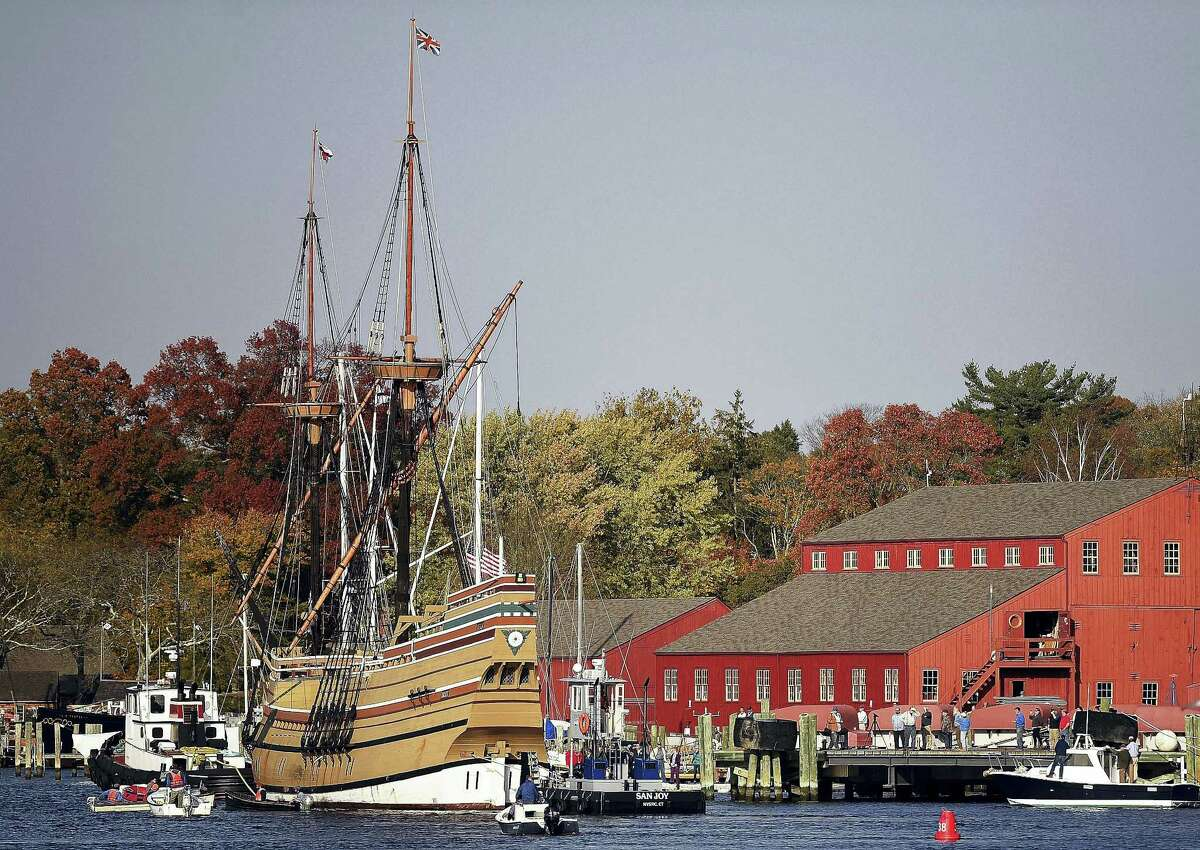 In this Nov. 2, 2016 photo, the Mayflower II arrives at Mystic Seaport in Stonington. The 1957 replica of the vessel that brought the Pilgrims to the new world in 1620, is there for a complete overhaul in time for festivities in 2020 that will mark the 400th anniversary of the Pilgrim landing.