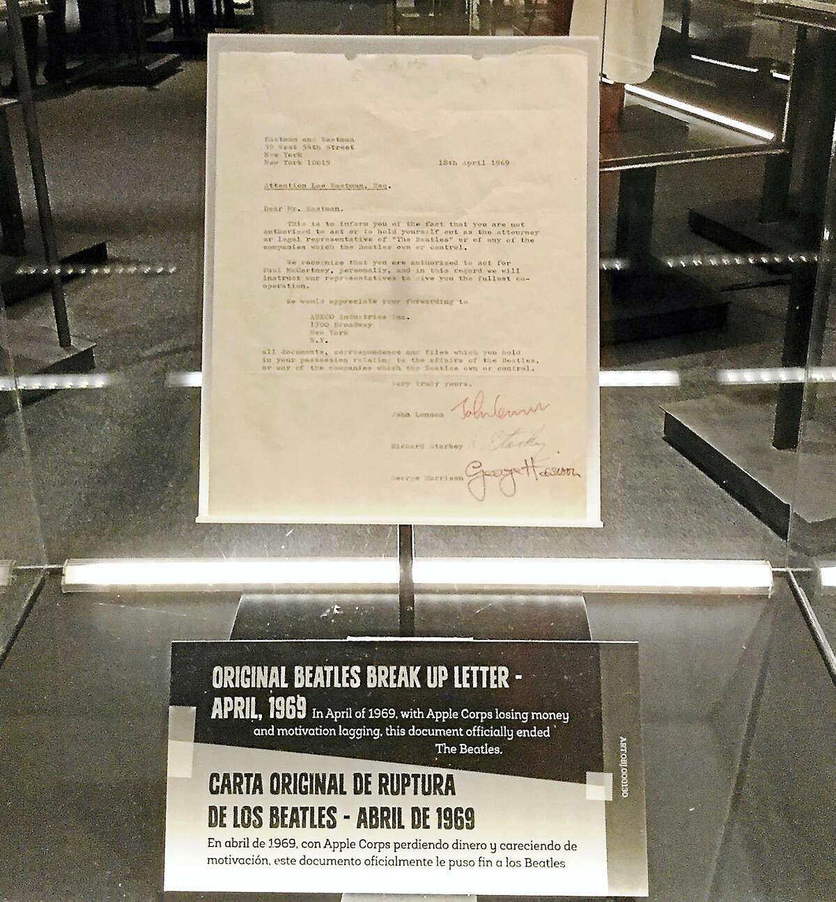 The Beatles breakup letter in 1969.