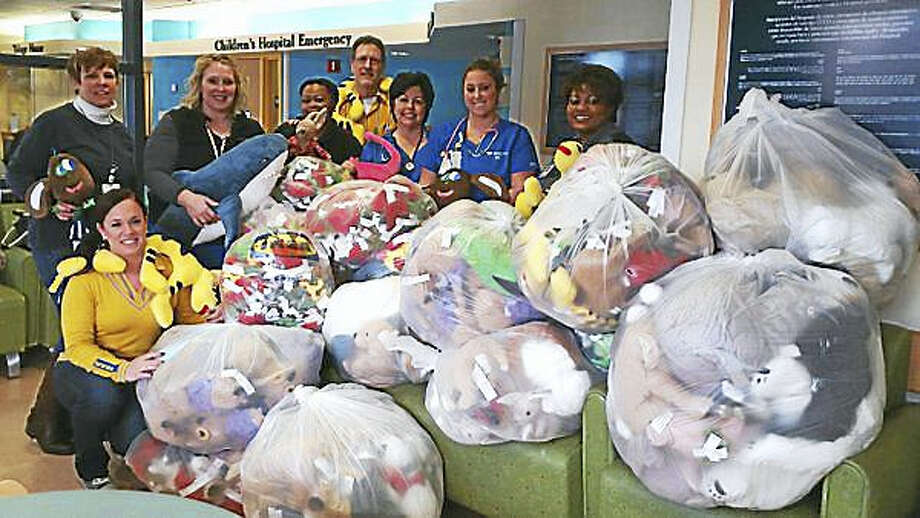 Bags of soft toys, the kind for which IKEA is donating $1.10 each to children's charities, are displayed at Yale-New Haven Hospital. Photo: Courtesy Of IKEA New Haven