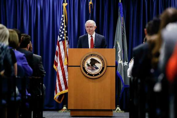 Attorney General Jeff Sessions speaks Friday at the U.S. Attorney's Office in Philadelphia. (AP Photo/Matt Rourke)