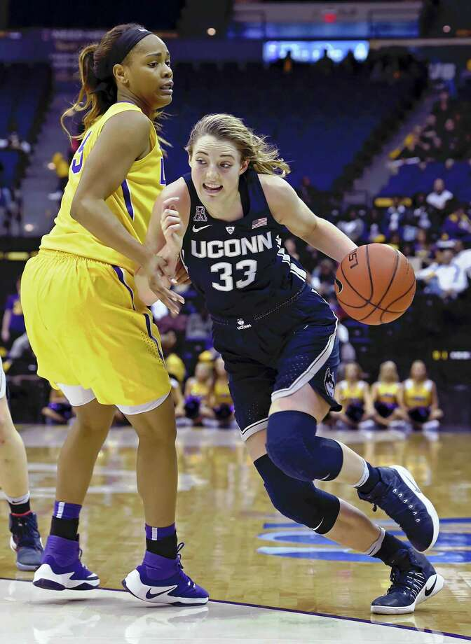 UConn forward Katie Lou Samuelson (33) drives to the basket against LSU on Sunday. Photo: Bill Feig — The Associated Press   / FR44286 AP
