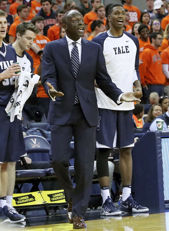 Yale head coach James Jones reacts to a play during Sunday's game against Virginia. Photo: Andrew Shurtleff — The Daily Progress Via AP   / Copyright 2016 The Associated Press. All rights reserved.
