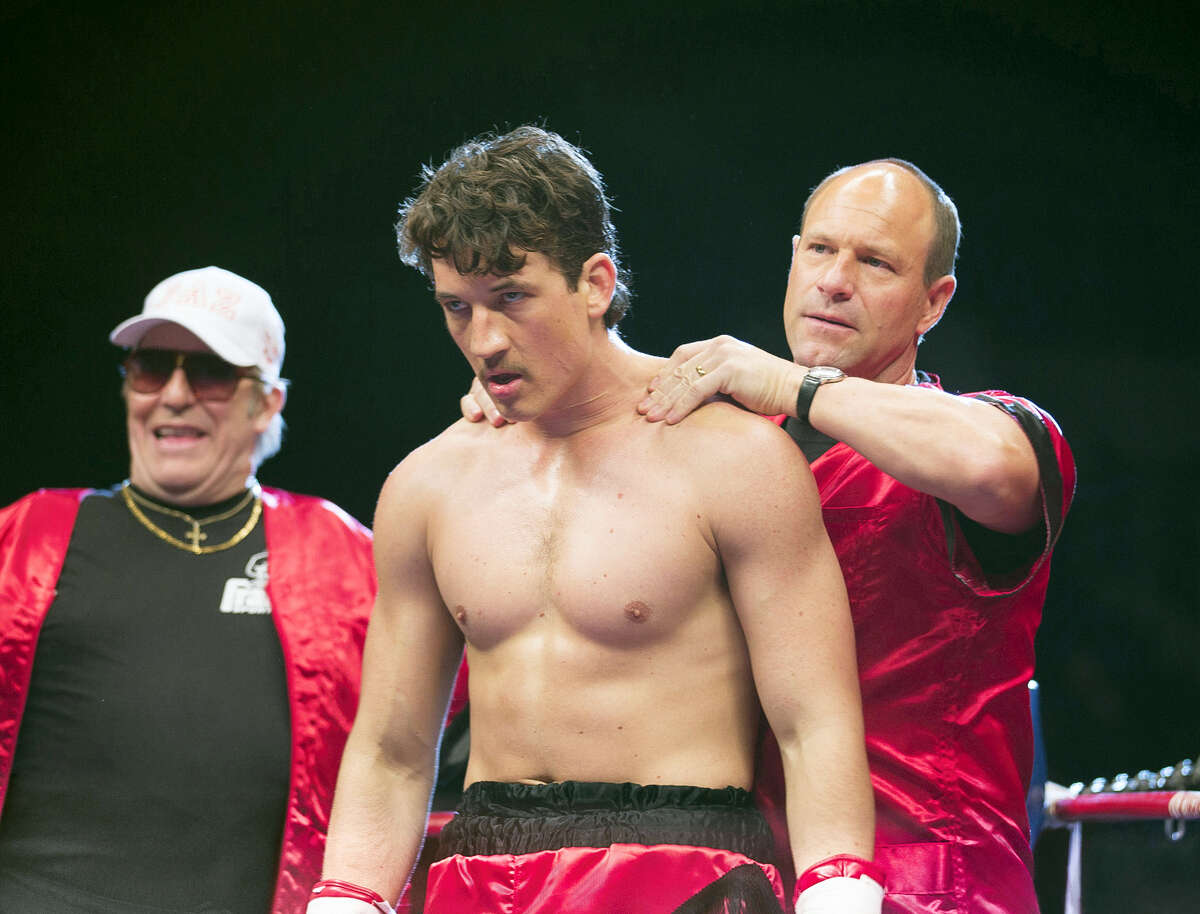 """In this image released by Open Road Films, Ciaran Hinds, from left, Miles Teller and Aaron Eckhart appear in a scene from the film, """"Bleed For This."""""""