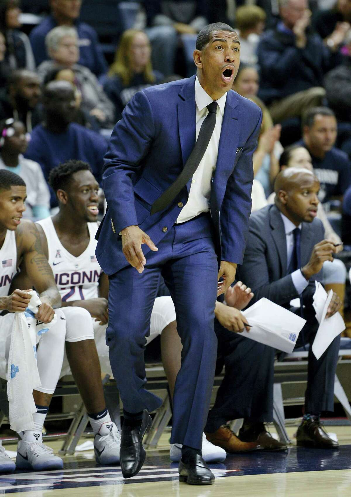 UConn coach Kevin Ollie is seen here during a game earlier this season.