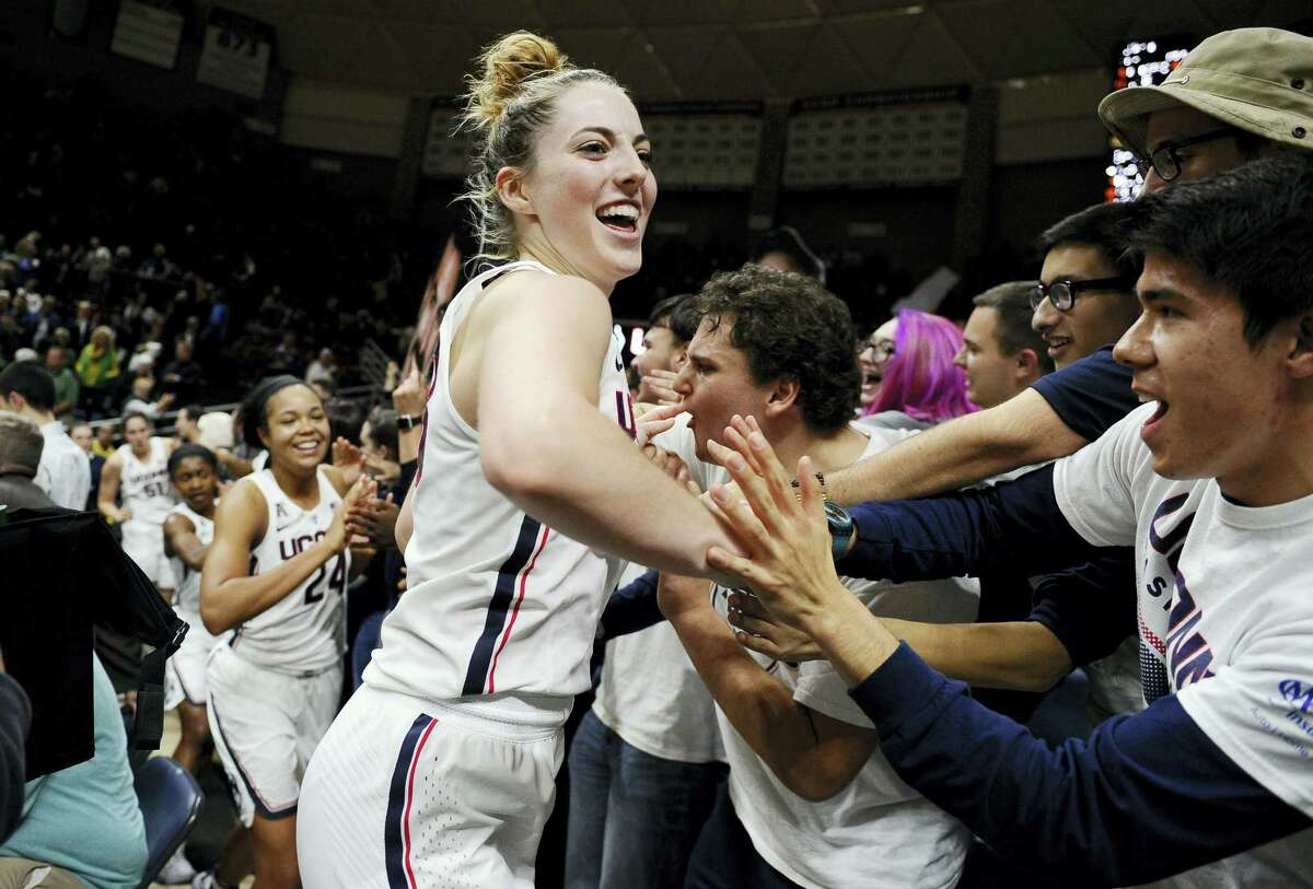 UConn's Katie Lou Samuelson and her teammates celebrate after Thursday's win over second-ranked Baylor.