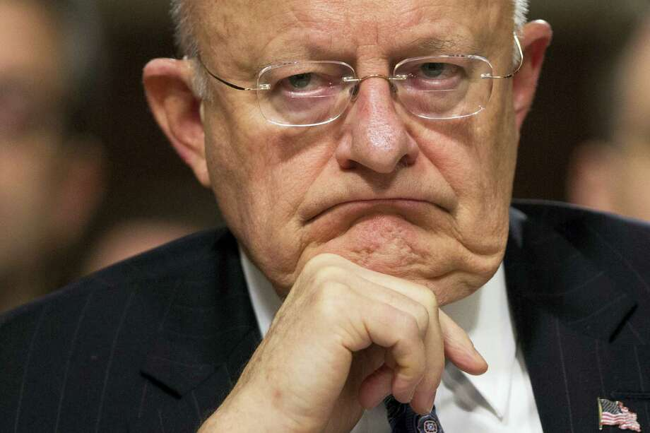 In this Feb. 9, 2016 file photo, Director of National Intelligence James Clapper listens on Capitol Hill in Washington. Clapper has resigned as DNI director. Photo: AP Photo/Evan Vucci, File    / Copyright 2016 The Associated Press. All rights reserved.