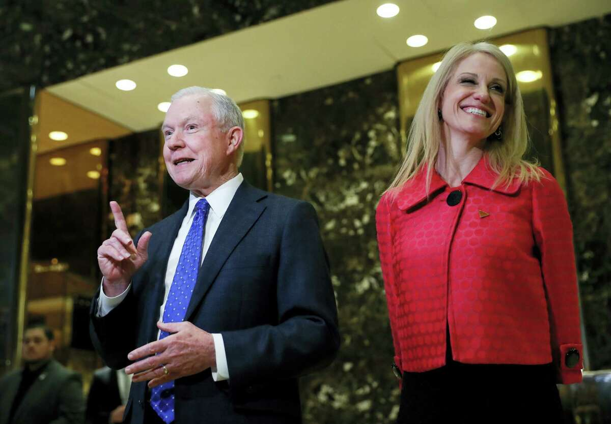 Sen. Jeff Sessions, R-Ala. and Kellyanne Conway, campaign manager for President-elect Donald Trump, speaks to reporters at Trump Tower in New York, Thursday, Nov. 17, 2016.