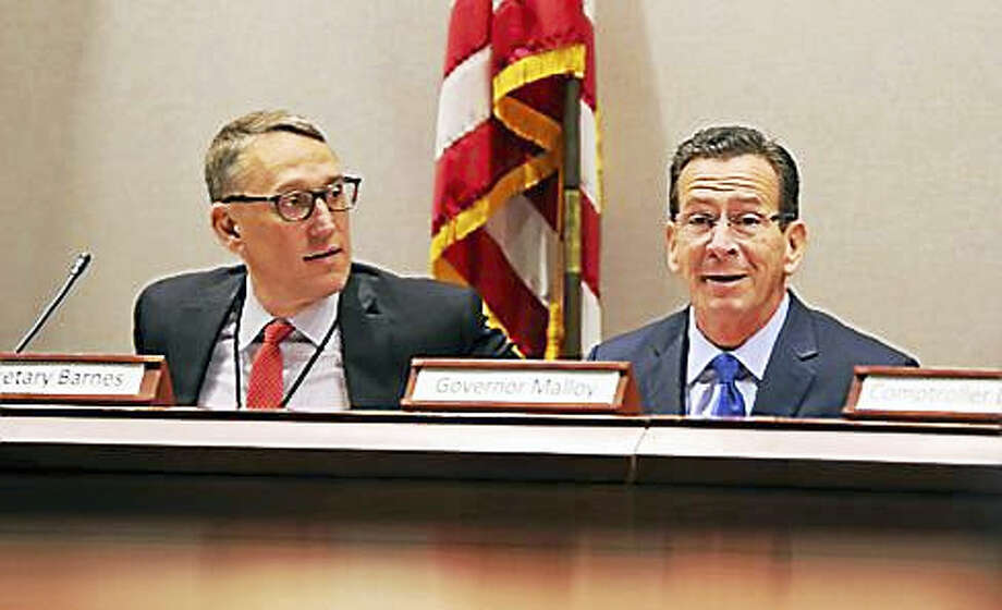 Gov. Dannel P. Malloy and Office of Policy and Management Secretary Ben Barnes Photo: Christine Stuart Photo