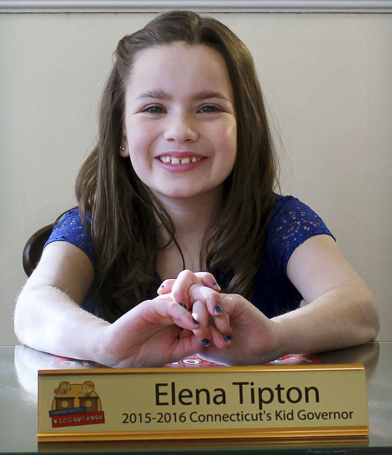 In this Jan, 29 photo, Elena Tipton of East Hartford poses in the former governor's office at Connecticut's Old State House in Hartford. Elena, 11, was elected as Connecticut's kid governor in 2015. Photo: Connecticut Public Affairs Network Via AP   / Connecticut Public Affairs Network