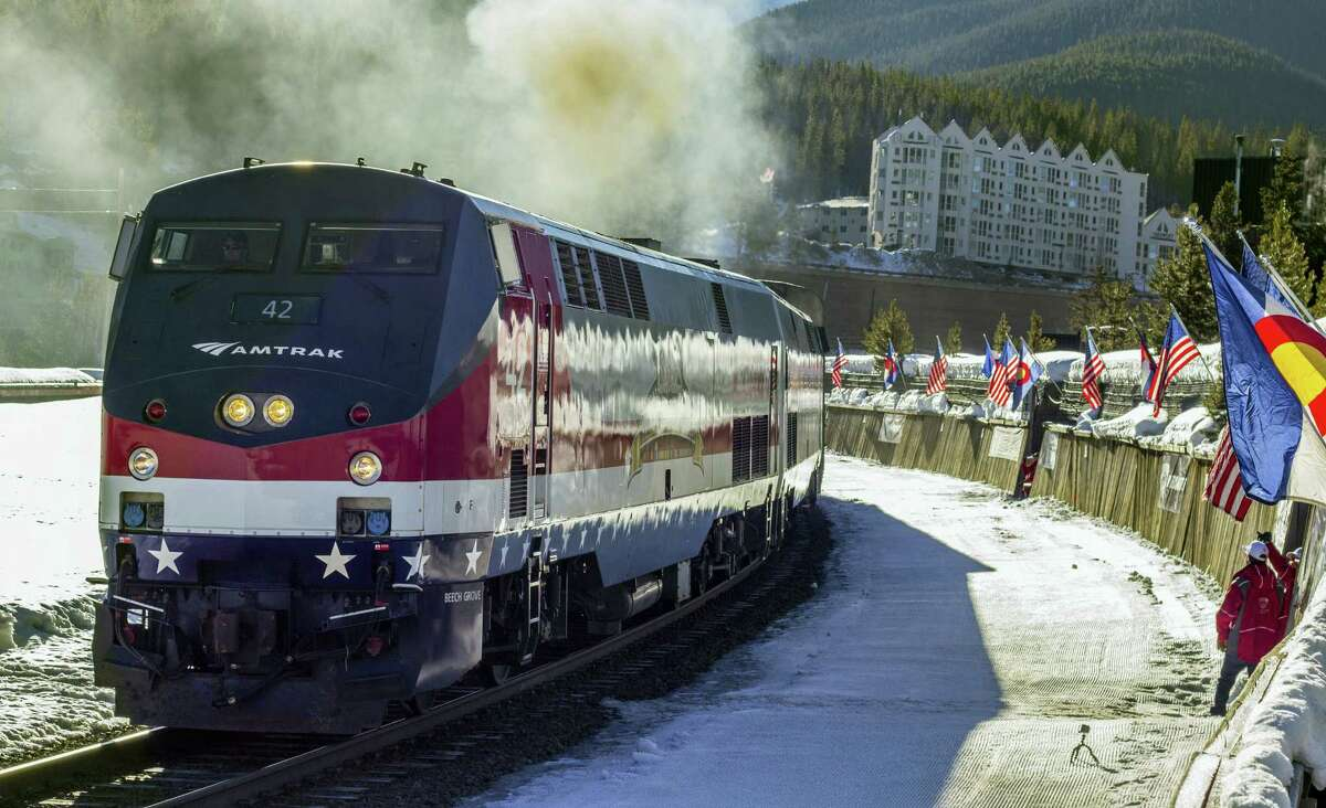 The Winter Park ski train is shown outside Winter Park, Colo. The historic train for skiers is resuming service from Denver's Union Station to the Rocky Mountains through 29 tunnels.