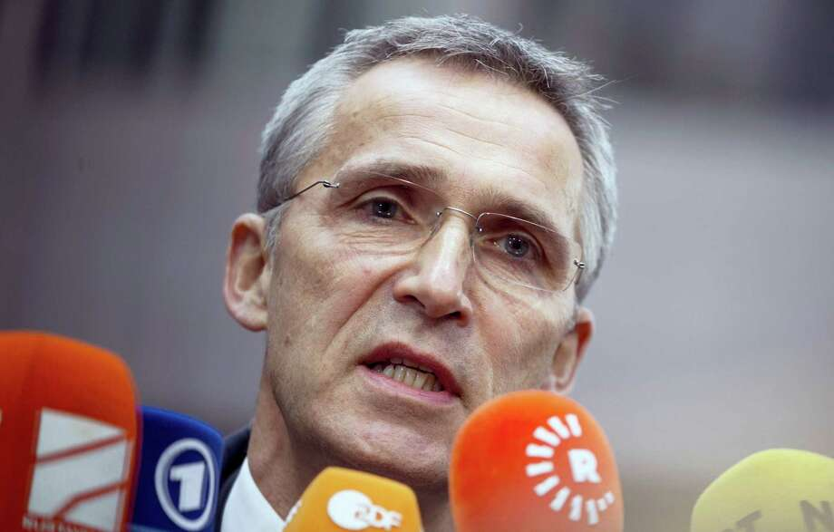 NATO Secretary General Jens Stoltenberg speaks with the media as he arrives for a meeting of EU defense ministers at the EU Council building in Brussels on Tuesday, Nov. 15, 2016. Photo: AP Photo/Virginia Mayo   / Copyright 2016 The Associated Press. All rights reserved.