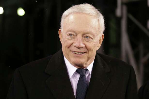 """FILE - This Dec. 11, 2016 file photo shows Dallas Cowboys owner Jerry Jones at MetLife Stadium before an NFL football game against the New York Giants in East Rutherford, N.J. Jones reiterated his belief that star running back Ezekiel Elliott wasn't guilty of domestic violence in a case the NFL has been investigating for a year. Jones said Sunday, July 23, 2017 on the eve of the opening of training camp that Elliott's case was """"not even an issue over he said-she said."""" (AP Photo/Seth Wenig, file)"""