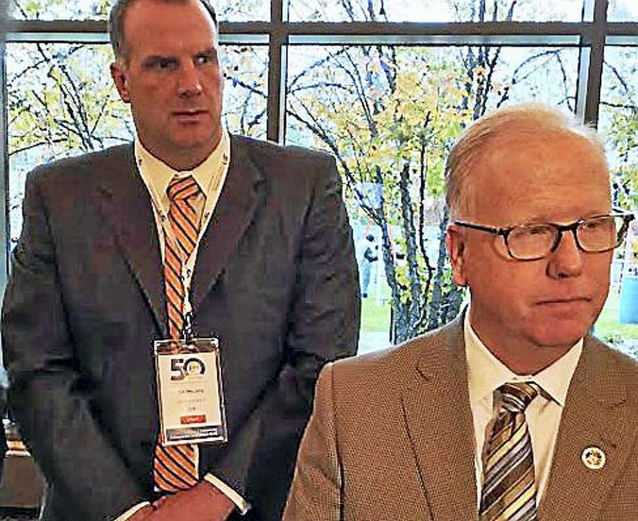 Danbury Mayor Mark Boughton and CCM Executive Director Joe DeLong. Photo: Jack Kramer — CTNewsJunkie