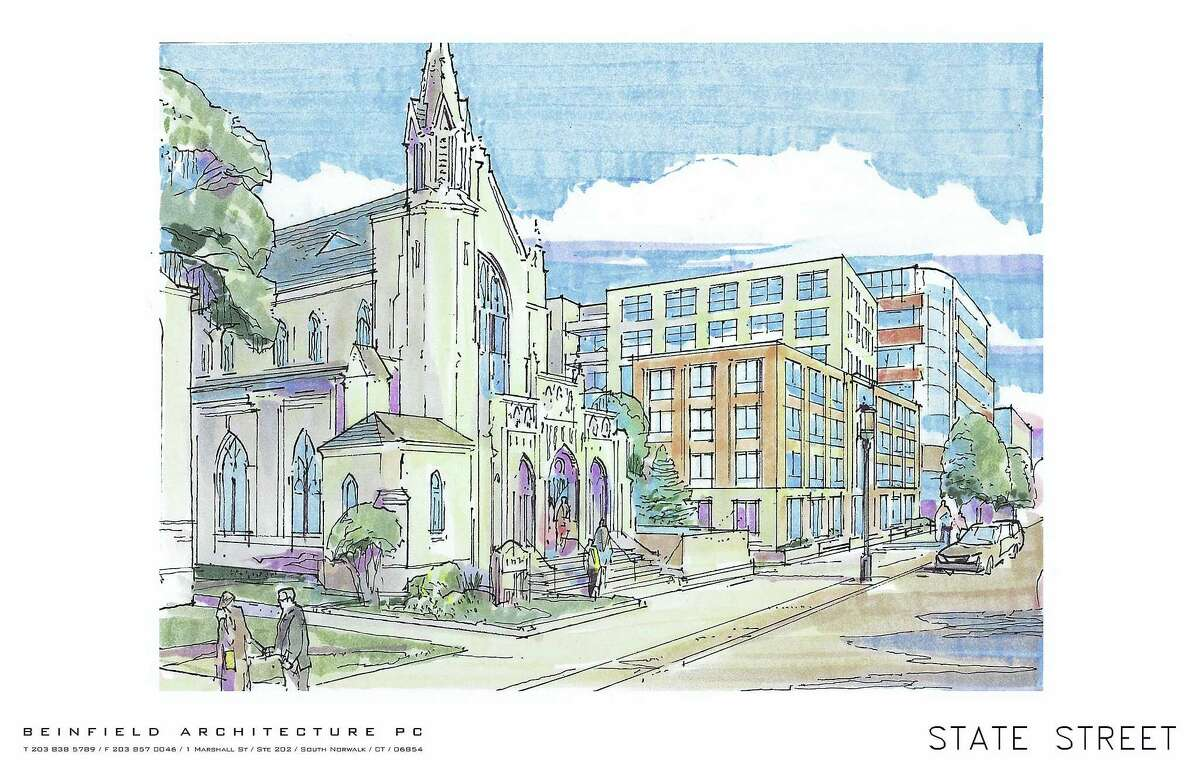 A rendering of proposal for the Spinnaker project at Audubon and Orange streets in New Haven.